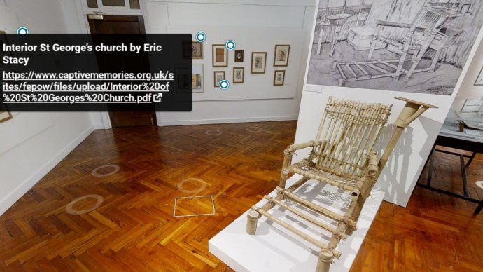 Image of the bamboo dentist chair from the Art of FEPOW exhibition