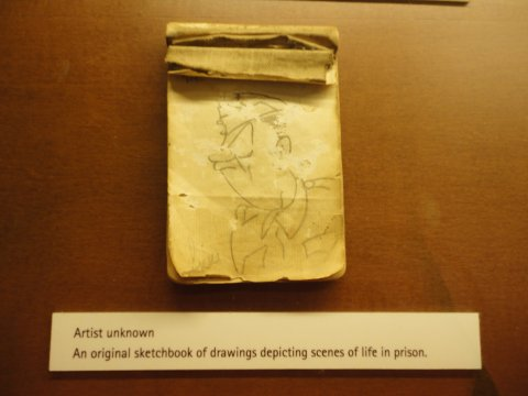 AKKI's sketchpad on display in Changi Museum, 2013 (photograph by M. Parkes; courtesy J. Jeyadurai)