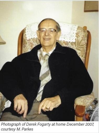 Photograph of Derek Fogarty at home December 2007,  courtesy M. Parkes