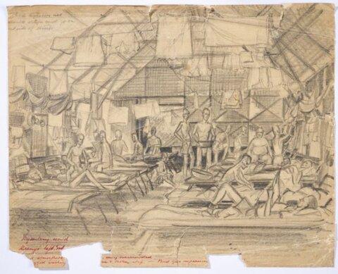 Sketch of Dysentery hut, Kranji  POW camp Singapore, 1945 by WG Norways