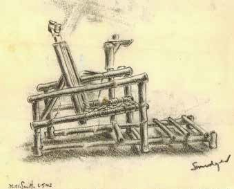 Bamboo dental chair made at Chungkai Hospital camp Thailand, sketched by Lieutenant F. Ransome-Smith, © courtesy C. Ransome and Museum of Military Medicine