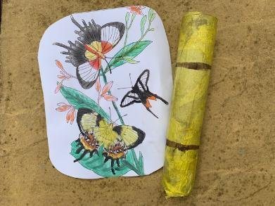 a bamboo stick and a painted cloth