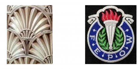 """Right: close-up of one of the decorative tiles at VG&M  Left: FEPOW club logo. The clubs' motto was """"To Keep Going the Spirit that Kept us Going"""""""