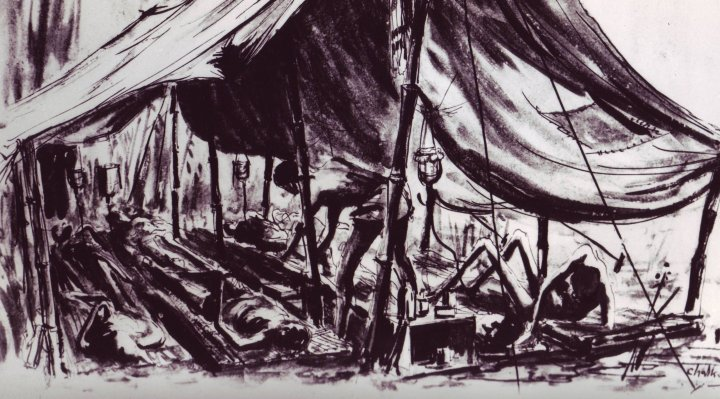 Charcoal drawing of Cholera tents by Jack Chalker